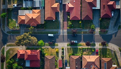 Aerial view of street and houses