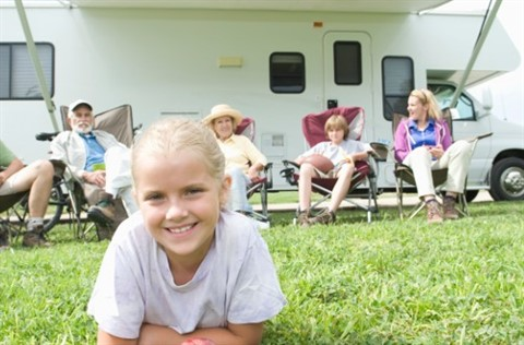 Family and RV camper van