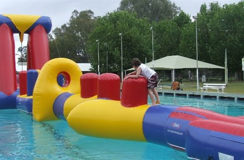 Inflatables at the Corowa Swimming Pool